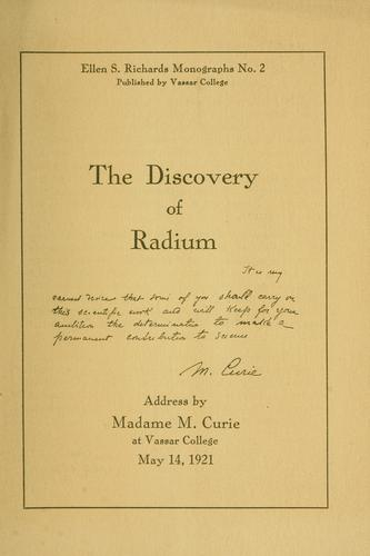 book cover: THe Doscovery of Radium by Marie Curie