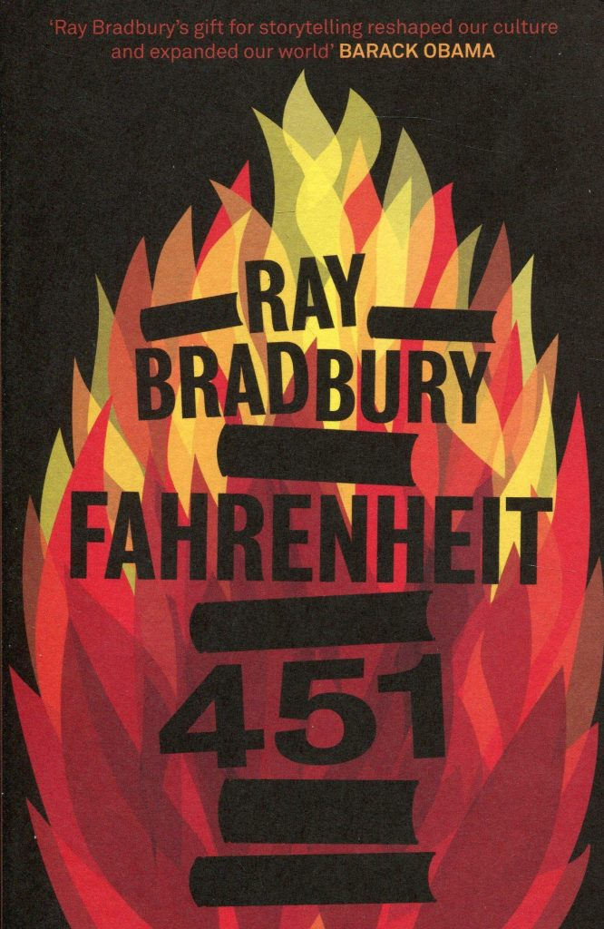 book cover: Fahrenheit 451 by Ray Bradbury